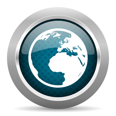 parallels: earth blue silver chrome border icon on white background