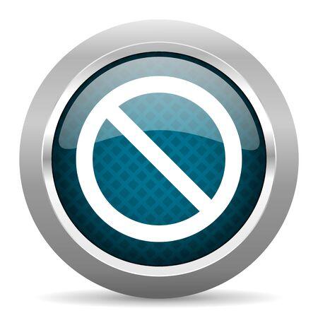 denied: access denied blue silver chrome border icon on white background