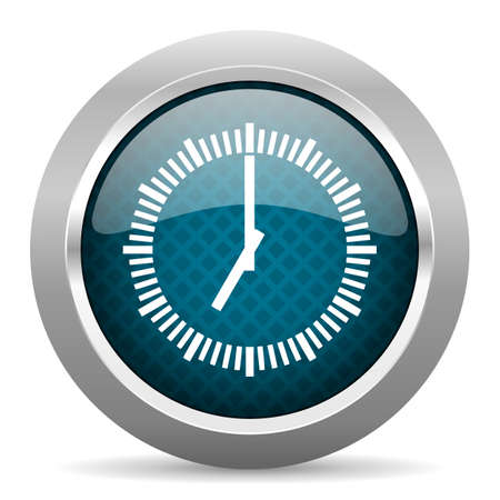 chrome border: time blue silver chrome border icon on white background