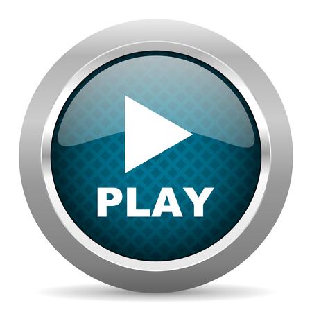 round button: play blue silver chrome border icon on white background
