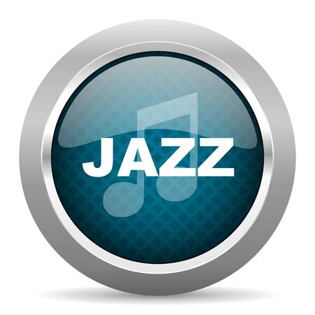 chrome border: jazz music blue silver chrome border icon on white background
