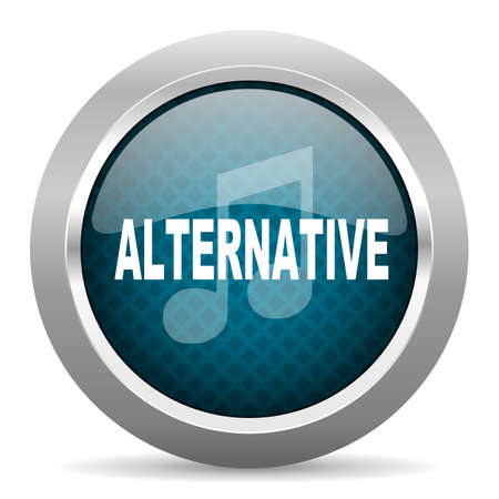 chrome border: alternative music blue silver chrome border icon on white background