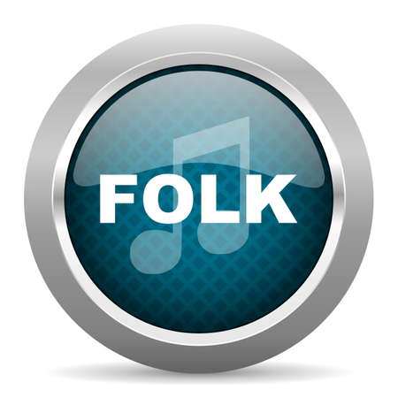 folk music: folk music blue silver chrome border icon on white background