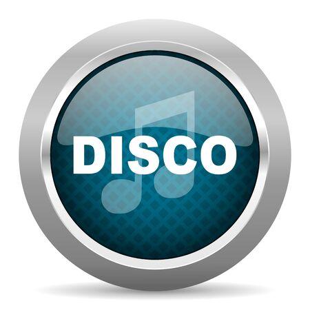 chrome border: disco music blue silver chrome border icon on white background Stock Photo