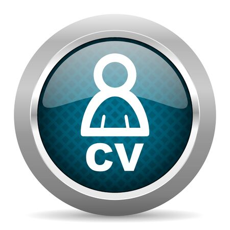 job descriptions: cv blue silver chrome border icon on white background Stock Photo