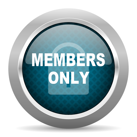 members only: members only blue silver chrome border icon on white background