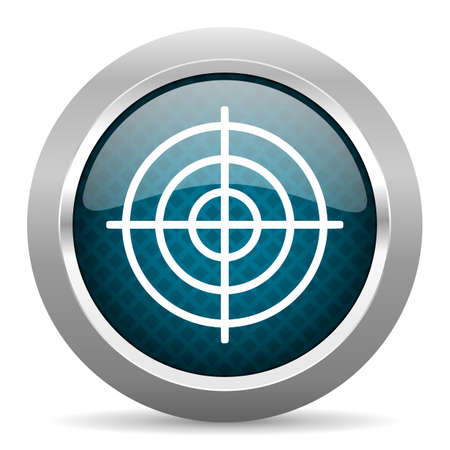 chrome border: target blue silver chrome border icon on white background Stock Photo