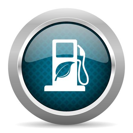 agro: biofuel blue silver chrome border icon on white background