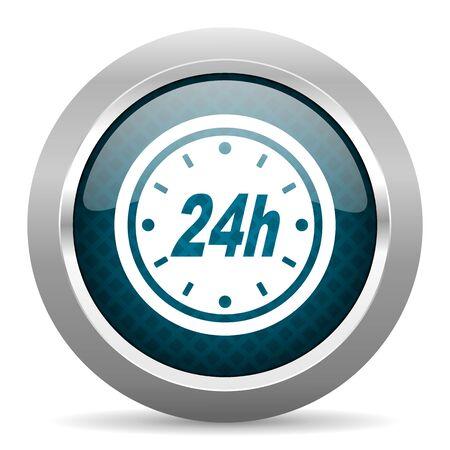 24h: 24h blue silver chrome border icon on white background