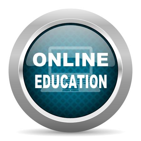 online education: online education blue silver chrome border icon on white background