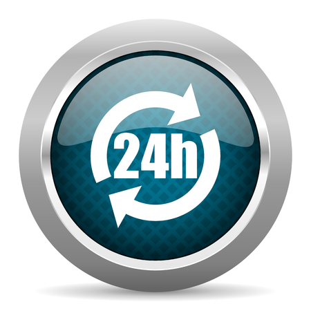 24h: 24h blue silver chrome border icon on white background