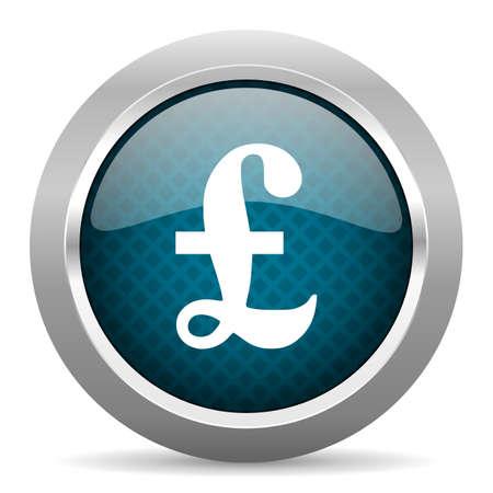 chrome border: pound blue silver chrome border icon on white background