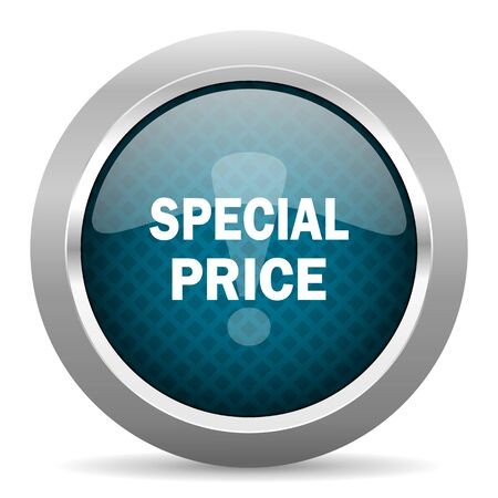 special price: special price blue silver chrome border icon on white background