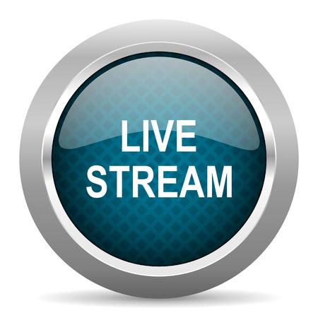 live stream button: live stream blue silver chrome border icon on white background