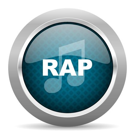 rap music: rap music blue silver chrome border icon on white background