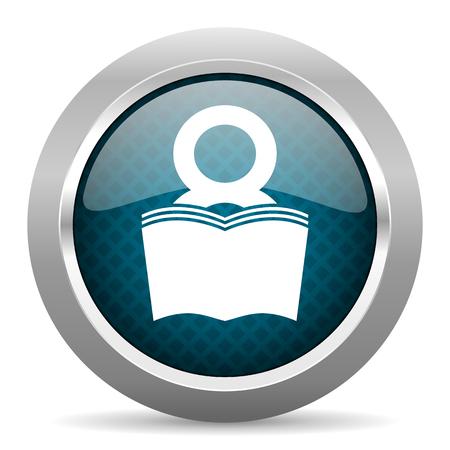 chrome man: book blue silver chrome border icon on white background Stock Photo