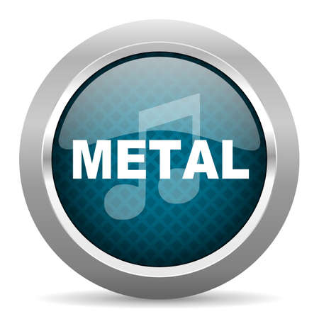 chrome border: metal music blue silver chrome border icon on white background