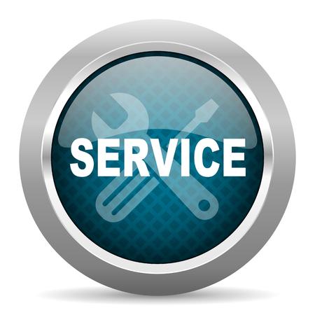 silver service: service blue silver chrome border icon on white background