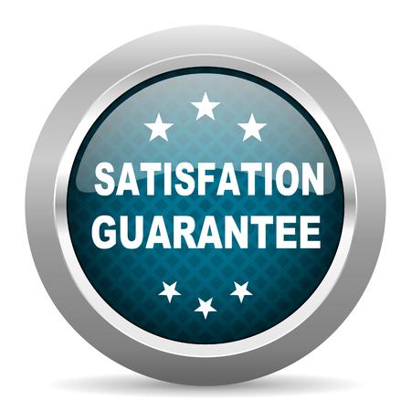 satisfaction guarantee: satisfaction guarantee blue silver chrome border icon on white background