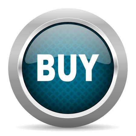 chrome border: buy blue silver chrome border icon on white background Stock Photo