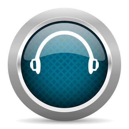 chrome border: headphones blue silver chrome border icon on white background
