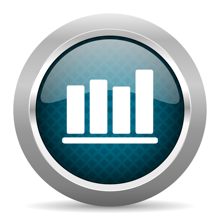 silver bar: bar chart blue silver chrome border icon on white background