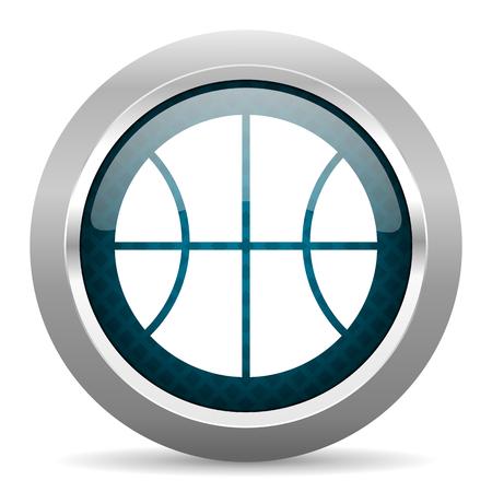 chrome ball: ball blue silver chrome border icon on white background