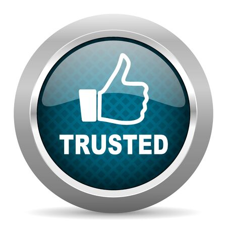 trusted: trusted blue silver chrome border icon on white background