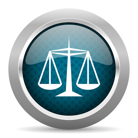 criminal act: justice blue silver chrome border icon on white background Stock Photo