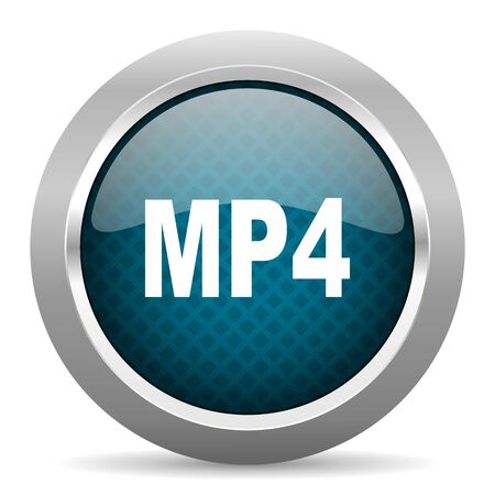 mp4: mp4 blue silver chrome border icon on white background