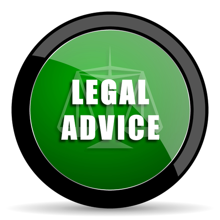 criminal act: legal advice green web glossy circle icon on white background