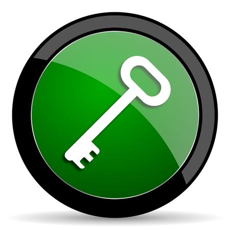 secret codes: key green web glossy circle icon on white background Stock Photo