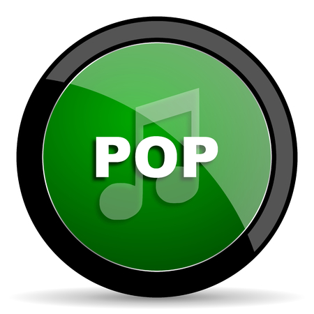 pop music: pop music green web glossy circle icon on white background Stock Photo
