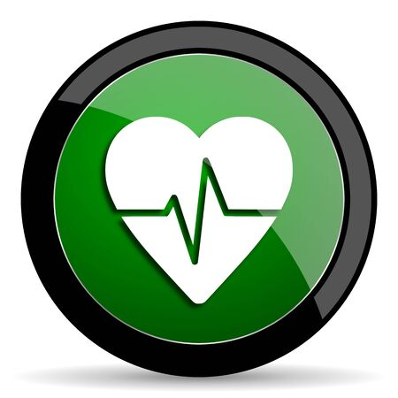 cardiograph: pulse green web glossy circle icon on white background Stock Photo