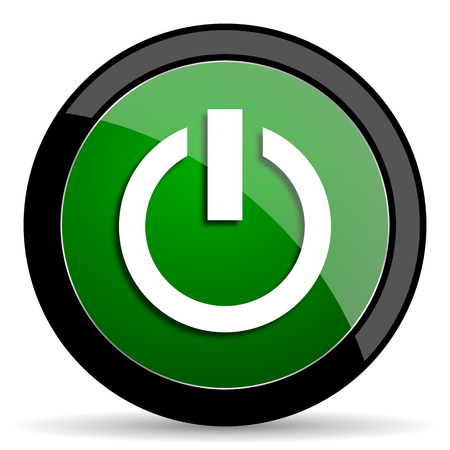 green power: power green web glossy circle icon on white background Stock Photo