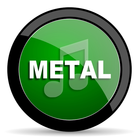 metal music: metal music green web glossy circle icon on white background