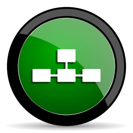database icon: database green web glossy circle icon on white background