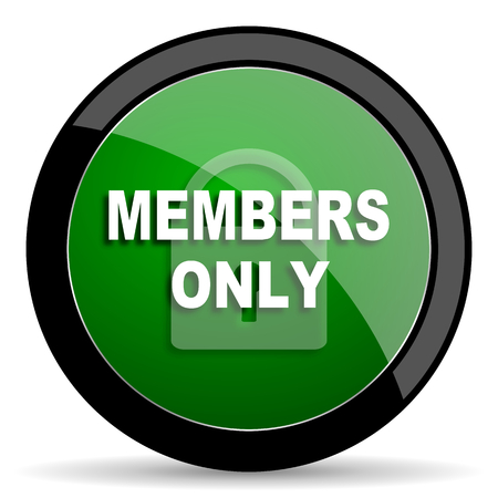 members only: members only green web glossy circle icon on white background