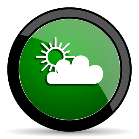 circle icon: cloud green web glossy circle icon on white background