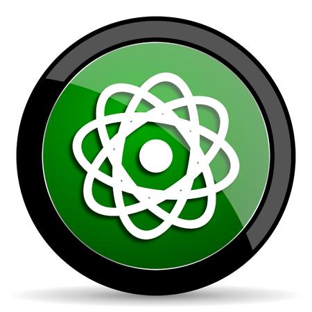 gamma radiation: atom green web glossy circle icon on white background