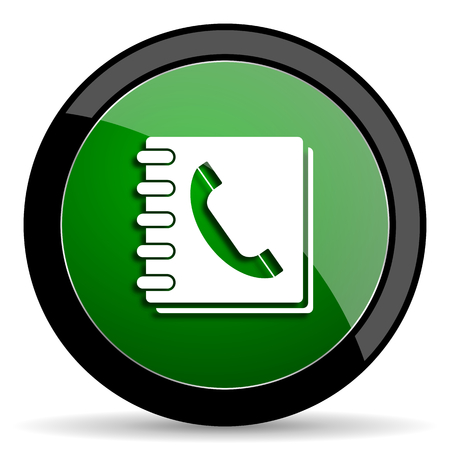 phonebook: phonebook green web glossy circle icon on white background Stock Photo