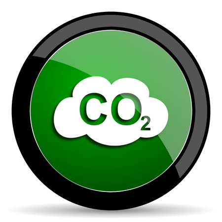 anidride carbonica: carbon dioxide green web glossy circle icon on white background Archivio Fotografico