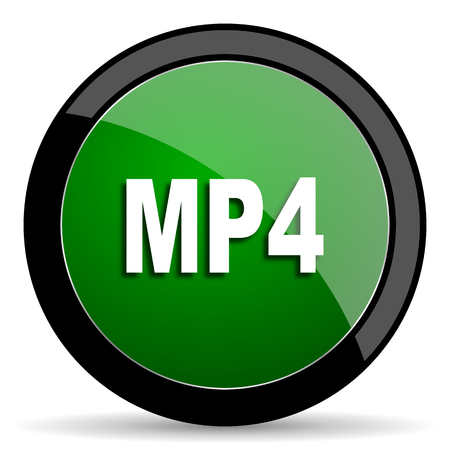 mp4: mp4 green web glossy circle icon on white background Stock Photo