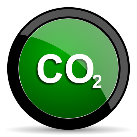 carbon emission: carbon dioxide green web glossy circle icon on white background Stock Photo