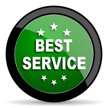 best service: best service green web glossy circle icon on white background Stock Photo