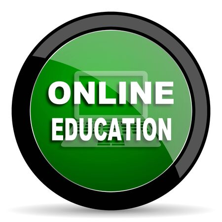 online education: online education green web glossy circle icon on white background