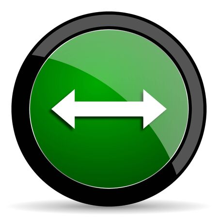 sterring: arrow green web glossy circle icon on white background
