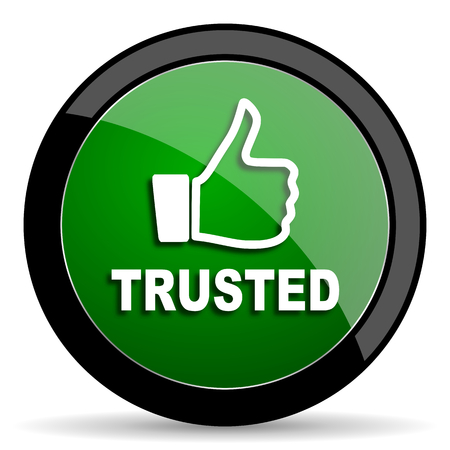 trusted: trusted green web glossy circle icon on white background
