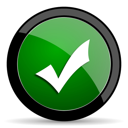 yea: accept green web glossy circle icon on white background