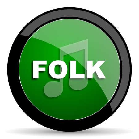 folk music: folk music green web glossy circle icon on white background